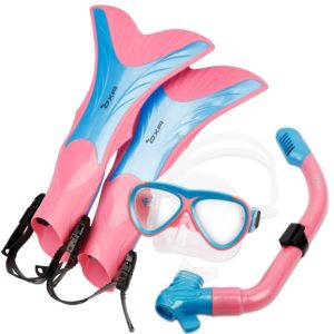 OXA Scuba Diving Snorkel Set including Dry Top Snorkel, 2-Windows Tempered Glass Mask and Trek Fins for Kids