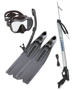 Cressi Gara 3000 LD Fins, Cressi Spearfishing Apache Speargun, Frameless Mask Fin Snorkel Set