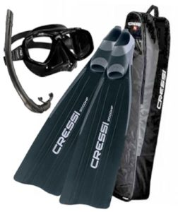 Cressi Gara 2000 Fins, Perla Mask, Corisca Snorkel, and Bag Freediving Spearfishing Set